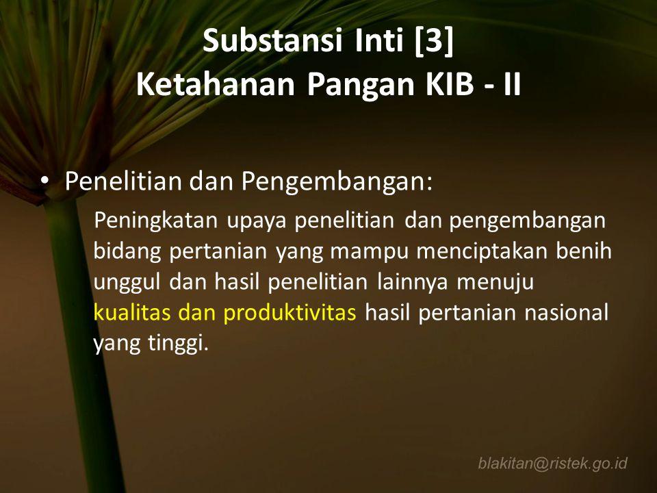 Substansi Inti [3] Ketahanan Pangan KIB - II